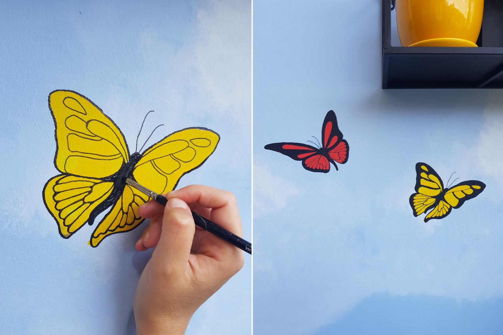 ציור קיר במרפסת, צבעים, פרפרים